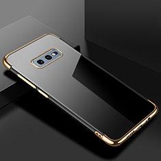 Silikon Schutzhülle Ultra Dünn Flexible Tasche Durchsichtig Transparent S02 für Samsung Galaxy S10e Gold