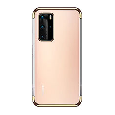 Silikon Schutzhülle Ultra Dünn Flexible Tasche Durchsichtig Transparent S03 für Huawei P40 Pro Gold