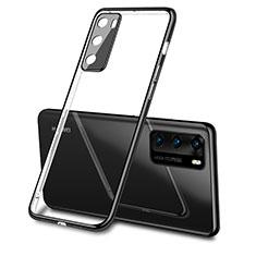 Silikon Schutzhülle Ultra Dünn Flexible Tasche Durchsichtig Transparent S03 für Huawei P40 Schwarz