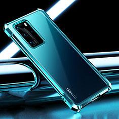 Silikon Schutzhülle Ultra Dünn Flexible Tasche Durchsichtig Transparent S04 für Huawei P40 Pro Cyan