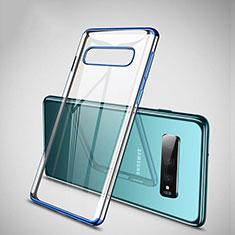 Silikon Schutzhülle Ultra Dünn Flexible Tasche Durchsichtig Transparent S04 für Samsung Galaxy S10 Plus Blau
