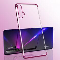 Silikon Schutzhülle Ultra Dünn Flexible Tasche Durchsichtig Transparent S05 für Huawei Nova 5 Violett