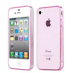 Silikon Schutzhülle Ultra Dünn Handyhülle Hülle Durchsichtig Transparent für Apple iPhone 4 Rosa