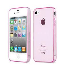 Silikon Schutzhülle Ultra Dünn Handyhülle Hülle Durchsichtig Transparent für Apple iPhone 4S Rosa