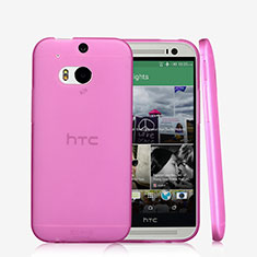 Silikon Schutzhülle Ultra Dünn Handyhülle Hülle Durchsichtig Transparent T01 für HTC One M8 Rosa