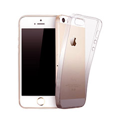Silikon Schutzhülle Ultra Dünn Hülle Durchsichtig Farbverlauf für Apple iPhone 5 Grau