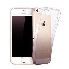 Silikon Schutzhülle Ultra Dünn Hülle Durchsichtig Farbverlauf für Apple iPhone 5S Grau