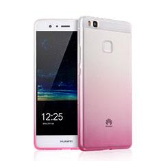 Silikon Schutzhülle Ultra Dünn Hülle Durchsichtig Farbverlauf für Huawei G9 Lite Rosa