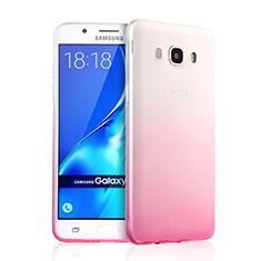 Silikon Schutzhülle Ultra Dünn Hülle Durchsichtig Farbverlauf für Samsung Galaxy J5 (2016) J510FN J5108 Rosa