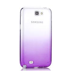 Silikon Schutzhülle Ultra Dünn Hülle Durchsichtig Farbverlauf für Samsung Galaxy Note 2 N7100 N7105 Violett