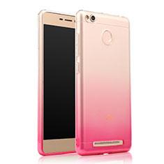 Silikon Schutzhülle Ultra Dünn Hülle Durchsichtig Farbverlauf für Xiaomi Redmi 3 Pro Rosa