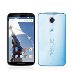 Silikon Schutzhülle Ultra Dünn Hülle Durchsichtig Transparent für Google Nexus 6 Blau