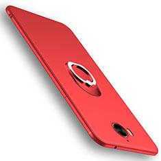 Silikon Schutzhülle Ultra Dünn Hülle Silikon mit Fingerring Ständer für Huawei Y6 (2017) Rot