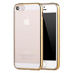 Silikon Schutzhülle Ultra Dünn Schutzhülle Tasche Durchsichtig Transparent H05 für Apple iPhone 5 Gold