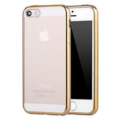 Silikon Schutzhülle Ultra Dünn Schutzhülle Tasche Durchsichtig Transparent H05 für Apple iPhone SE Gold