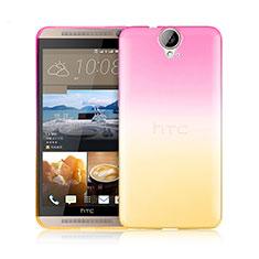 Silikon Schutzhülle Ultra Dünn Tasche Durchsichtig Farbverlauf für HTC One E9 Plus Rosa