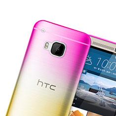 Silikon Schutzhülle Ultra Dünn Tasche Durchsichtig Farbverlauf für HTC One M9 Rosa