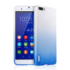 Silikon Schutzhülle Ultra Dünn Tasche Durchsichtig Farbverlauf für Huawei Honor 6 Plus Blau