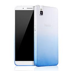 Silikon Schutzhülle Ultra Dünn Tasche Durchsichtig Farbverlauf für Huawei Honor 7i shot X Blau
