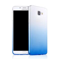 Silikon Schutzhülle Ultra Dünn Tasche Durchsichtig Farbverlauf für Samsung Galaxy A9 Pro (2016) SM-A9100 Blau