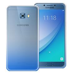 Silikon Schutzhülle Ultra Dünn Tasche Durchsichtig Farbverlauf für Samsung Galaxy C7 Pro C7010 Blau