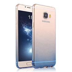 Silikon Schutzhülle Ultra Dünn Tasche Durchsichtig Farbverlauf für Samsung Galaxy C7 SM-C7000 Blau