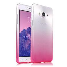 Silikon Schutzhülle Ultra Dünn Tasche Durchsichtig Farbverlauf für Samsung Galaxy J3 Pro (2016) J3110 Rosa