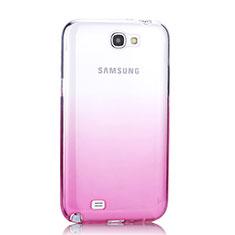 Silikon Schutzhülle Ultra Dünn Tasche Durchsichtig Farbverlauf für Samsung Galaxy Note 2 N7100 N7105 Rosa