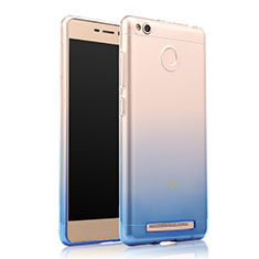 Silikon Schutzhülle Ultra Dünn Tasche Durchsichtig Farbverlauf für Xiaomi Redmi 3 High Edition Blau