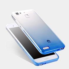Silikon Schutzhülle Ultra Dünn Tasche Durchsichtig Farbverlauf Q01 für Huawei Enjoy 5S Blau