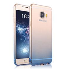 Silikon Schutzhülle Ultra Dünn Tasche Durchsichtig Farbverlauf T04 für Samsung Galaxy C7 Pro C7010 Blau