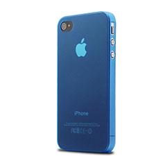 Silikon Schutzhülle Ultra Dünn Tasche Durchsichtig Matt für Apple iPhone 4 Blau