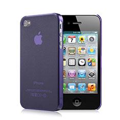 Silikon Schutzhülle Ultra Dünn Tasche Durchsichtig Matt für Apple iPhone 4 Violett