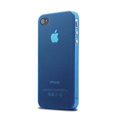 Silikon Schutzhülle Ultra Dünn Tasche Durchsichtig Matt für Apple iPhone 4S Blau