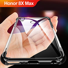 Silikon Schutzhülle Ultra Dünn Tasche Durchsichtig Transparent A02 für Huawei Honor 8X Max Schwarz