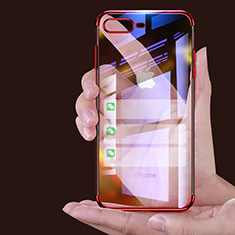 Silikon Schutzhülle Ultra Dünn Tasche Durchsichtig Transparent A06 für Apple iPhone 8 Plus Rot