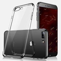 Silikon Schutzhülle Ultra Dünn Tasche Durchsichtig Transparent A07 für Apple iPhone 8 Plus Schwarz
