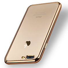 Silikon Schutzhülle Ultra Dünn Tasche Durchsichtig Transparent A08 für Apple iPhone 8 Plus Gold