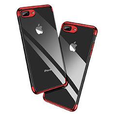 Silikon Schutzhülle Ultra Dünn Tasche Durchsichtig Transparent A12 für Apple iPhone 8 Plus Rot