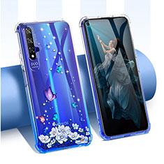 Silikon Schutzhülle Ultra Dünn Tasche Durchsichtig Transparent Blumen für Huawei Honor 20 Blau