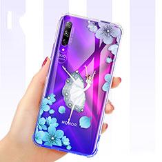 Silikon Schutzhülle Ultra Dünn Tasche Durchsichtig Transparent Blumen für Huawei Honor 9X Pro Blau