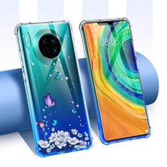 Silikon Schutzhülle Ultra Dünn Tasche Durchsichtig Transparent Blumen für Huawei Mate 30 Pro 5G Blau