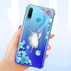Silikon Schutzhülle Ultra Dünn Tasche Durchsichtig Transparent Blumen für Huawei P30 Lite Blau