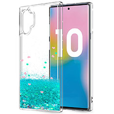Silikon Schutzhülle Ultra Dünn Tasche Durchsichtig Transparent Blumen für Samsung Galaxy Note 10 Plus 5G Grün