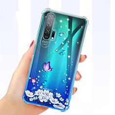 Silikon Schutzhülle Ultra Dünn Tasche Durchsichtig Transparent Blumen K01 für Huawei Honor 20 Pro Blau