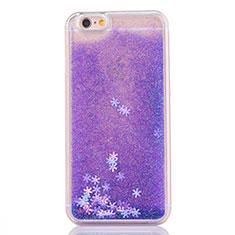 Silikon Schutzhülle Ultra Dünn Tasche Durchsichtig Transparent Blumen T01 für Apple iPhone 6S Violett
