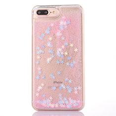 Silikon Schutzhülle Ultra Dünn Tasche Durchsichtig Transparent Blumen T01 für Apple iPhone 8 Plus Rosa