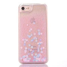 Silikon Schutzhülle Ultra Dünn Tasche Durchsichtig Transparent Blumen T01 für Apple iPhone SE (2020) Rosa