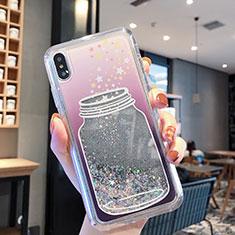 Silikon Schutzhülle Ultra Dünn Tasche Durchsichtig Transparent Blumen T01 für Apple iPhone Xs Grau
