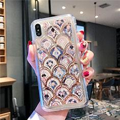Silikon Schutzhülle Ultra Dünn Tasche Durchsichtig Transparent Blumen T01 für Apple iPhone Xs Max Plusfarbig